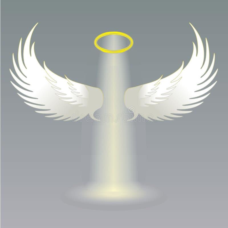 Φτερά αγγέλου και χρυσός φωτοστέφανος διανυσματική απεικόνιση