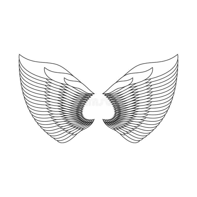 Φτερά αγγέλου που απομονώνονται Άσπρο φτερό φτερών του πουλιού διανυσματική απεικόνιση