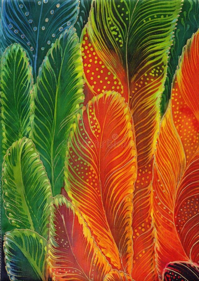Φτερά - διακοσμητική σύνθεση Πολύχρωμα φτερά - μπατίκ ταπετσαρία Έντυπα χρήση υλικά, σημάδια, θέση ελεύθερη απεικόνιση δικαιώματος