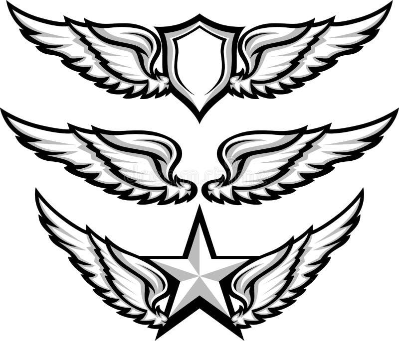 Φτερά και εικόνες εμβλημάτων διακριτικών απεικόνιση αποθεμάτων