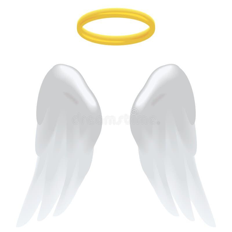 Φτερά και φωτοστέφανος αγγέλου ελεύθερη απεικόνιση δικαιώματος