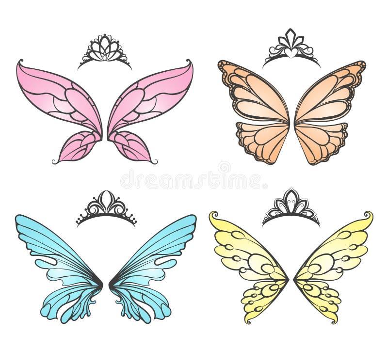 Φτερά νεράιδων με την τιάρα πριγκηπισσών απεικόνιση αποθεμάτων