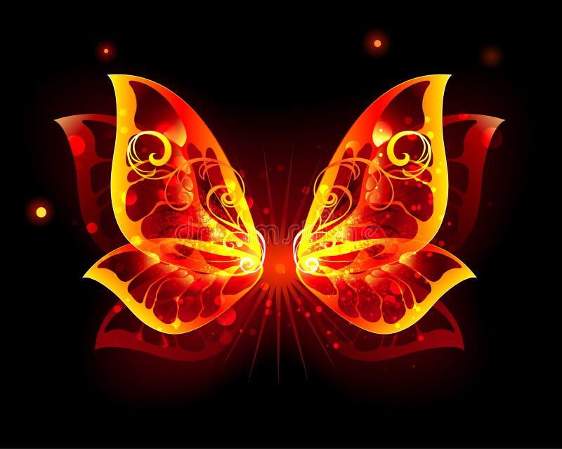 Φτερά πυρκαγιάς της πεταλούδας στο μαύρο υπόβαθρο διανυσματική απεικόνιση