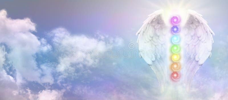 Φτερά Reiki αγγέλου και επτά δίνες Chakra στοκ φωτογραφία με δικαίωμα ελεύθερης χρήσης