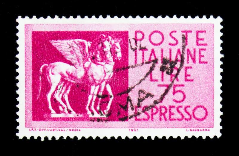 Φτερωτά άλογα Etruscan, serie, circa 1958 στοκ φωτογραφία με δικαίωμα ελεύθερης χρήσης