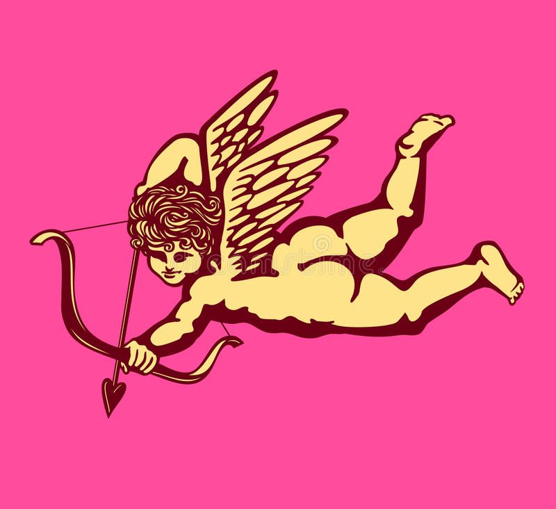 Φτερωτός έρωτας αγγέλου cupid με το τόξο και το διάνυσμα καρτών ημέρας του βαλεντίνου βελών απεικόνιση αποθεμάτων