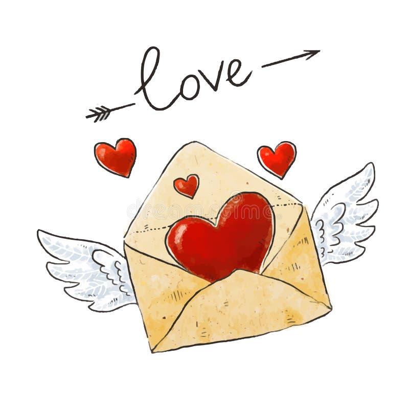 Φτερωτός φάκελος αγάπης ταχυδρομείου με την καρδιά και καλλιγραφικό σχέδιο εγγραφής αγάπης για τις διακοπές της αγάπης, ημέρα βαλ ελεύθερη απεικόνιση δικαιώματος