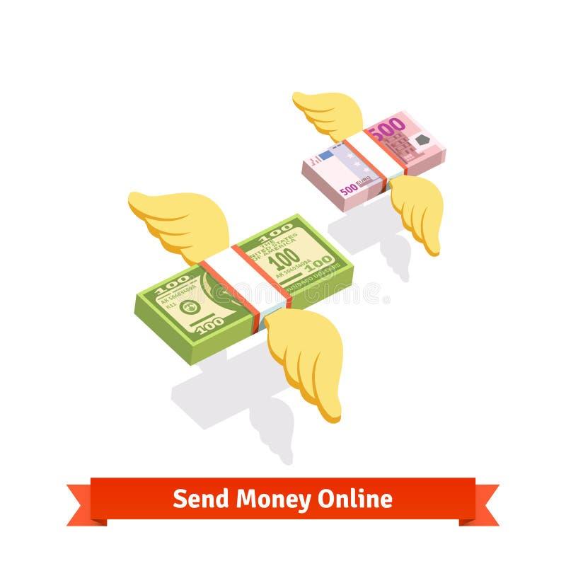 Φτερωτό ενωμένο δολάριο και ευρο- πέταγμα πακέτων λογαριασμών ελεύθερη απεικόνιση δικαιώματος