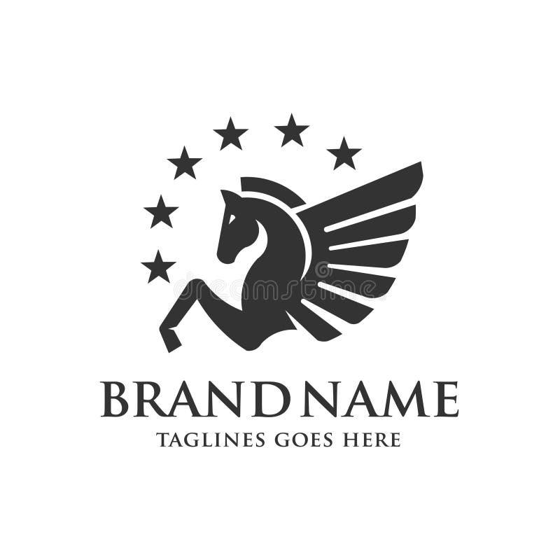 Φτερωτό Pegasus με το διάνυσμα λογότυπων αστεριών διανυσματική απεικόνιση