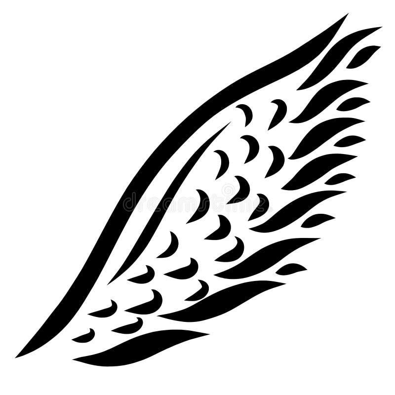 Φτερό πουλιών ή άγγελος, μαύρο σχέδιο σε ένα άσπρο υπόβαθρο διανυσματική απεικόνιση