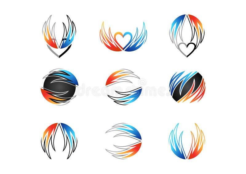 Φτερό, φλόγα, καρδιά, λογότυπο, πυρκαγιά, αγάπη, σύνολο διανυσματικού σχεδίου εικονιδίων ενεργειακών συμβόλων έννοιας απεικόνιση αποθεμάτων
