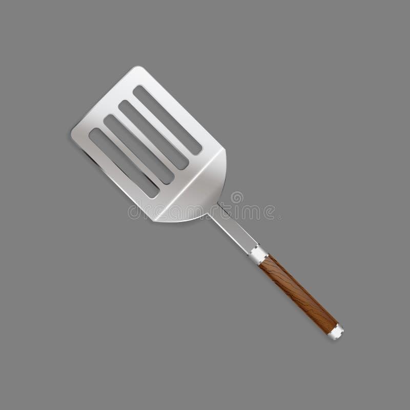 Φτυάρια, αποβουτυρωτής με μια όμορφη ξύλινη λαβή για το μαγείρεμα του κρέατος σε μια σχάρα σε ένα ρεαλιστικό ύφος για τη χρήση ως απεικόνιση αποθεμάτων