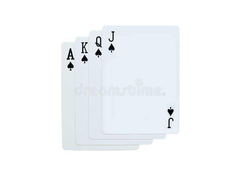 Φτυάρια πόκερ των καρτών παιχνιδιού J Q Κ Α που απομονώνονται στο άσπρο υπόβαθρο στοκ φωτογραφία με δικαίωμα ελεύθερης χρήσης