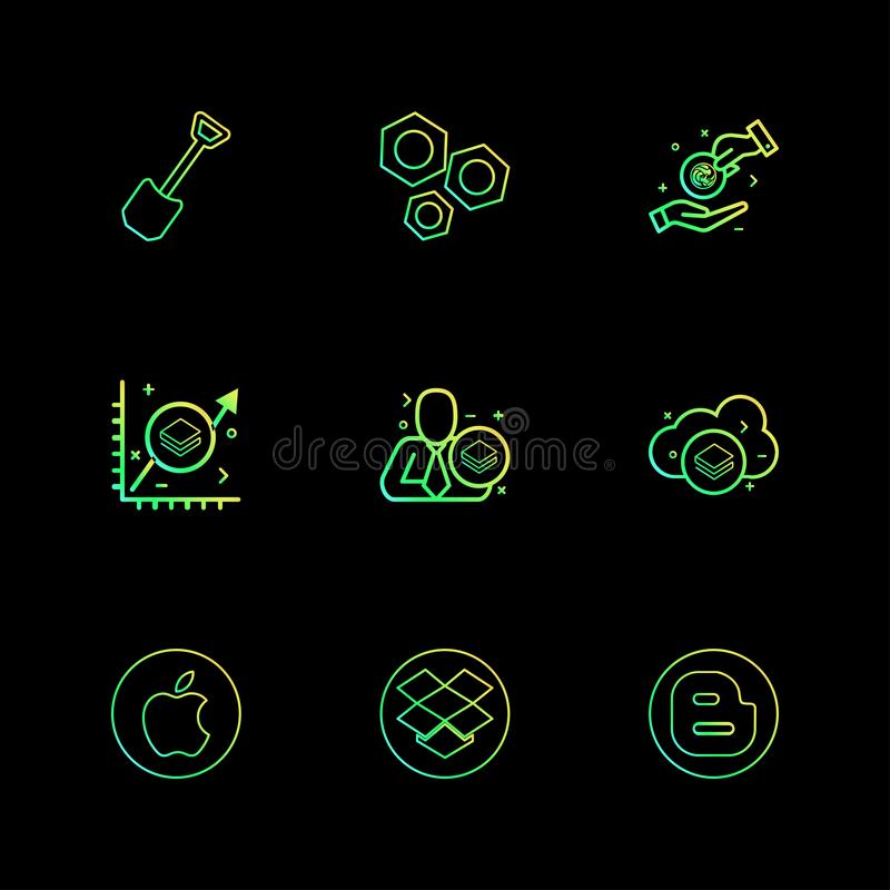 φτυάρι, καρύδι, μήλο, dropbox, blogger, crypto νόμισμα, έναρξη ελεύθερη απεικόνιση δικαιώματος