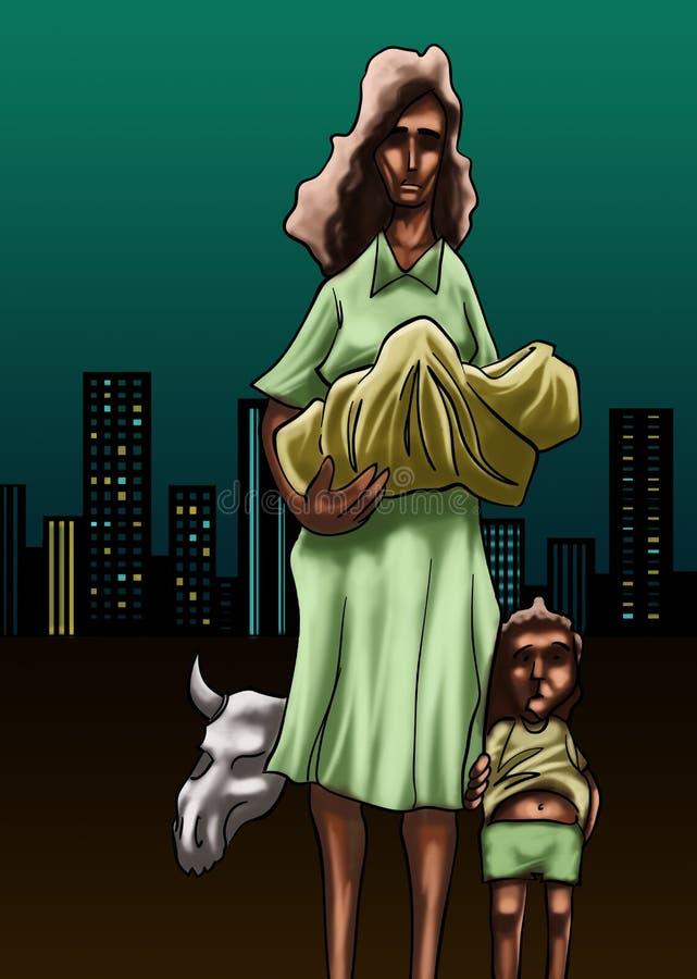 φτωχοί μητέρων ελεύθερη απεικόνιση δικαιώματος