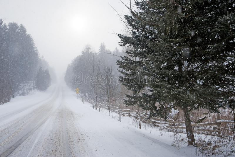 Φτωχός visibilty οφειλόμενος χιονοπτώσεις στοκ εικόνες με δικαίωμα ελεύθερης χρήσης