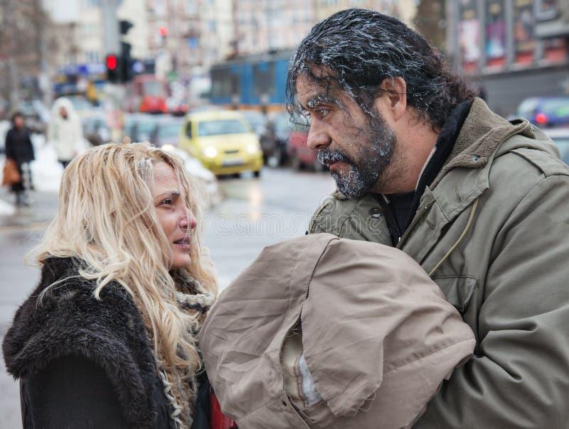 Φτωχό χειμερινό κρύο ανθρώπων στοκ φωτογραφία με δικαίωμα ελεύθερης χρήσης