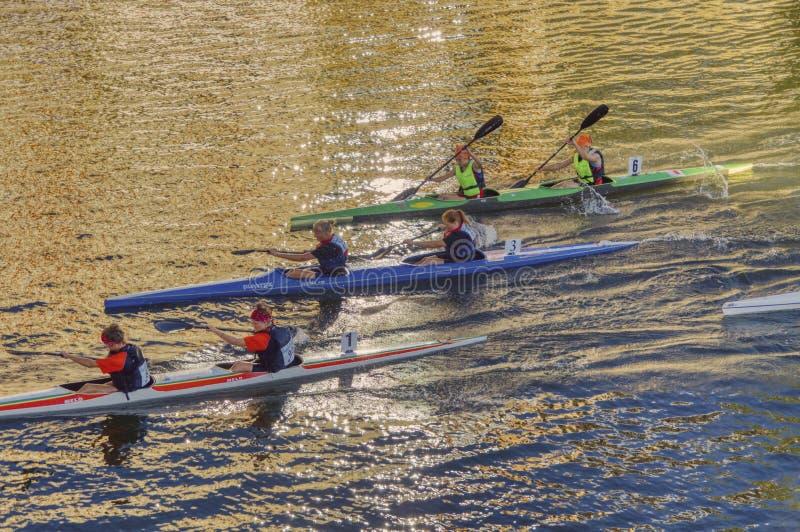 Φυλές καγιάκ στον ποταμό στοκ εικόνες με δικαίωμα ελεύθερης χρήσης