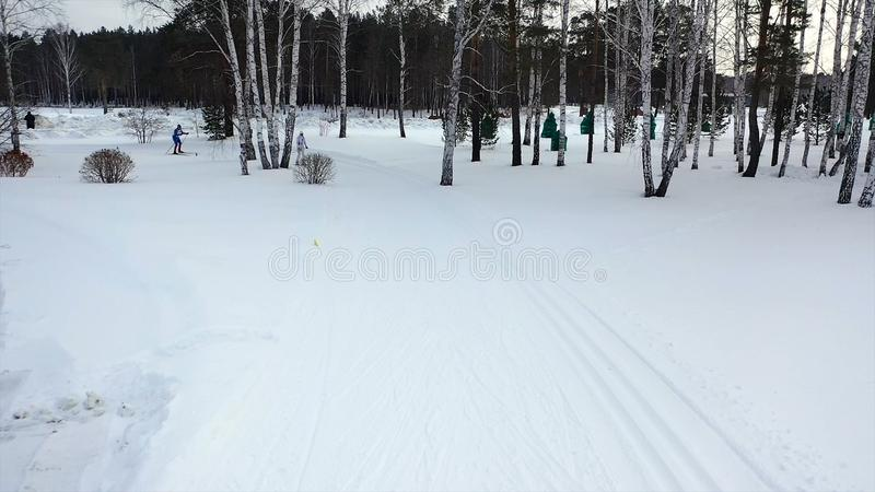 Φυλή σκι στη διαδρομή το χειμώνα footage Τοπ άποψη των ανταγωνιστικών επαγγελματικών σκιέρ στα ζωηρόχρωμα κοστούμια που οδηγούν σ στοκ εικόνες