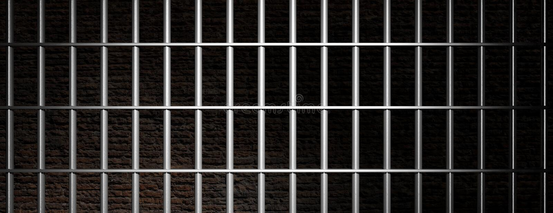 Φυλακή, φραγμοί φυλακών στο σκοτεινό υπόβαθρο τουβλότοιχος, έμβλημα τρισδιάστατη απεικόνιση απεικόνιση αποθεμάτων