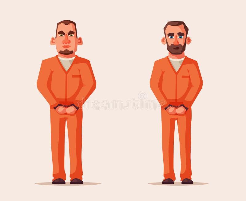 Φυλακισμένοι στη φυλακή Σχέδιο χαρακτήρα cartoon commander gun his illustration soldier stopwatch απεικόνιση αποθεμάτων