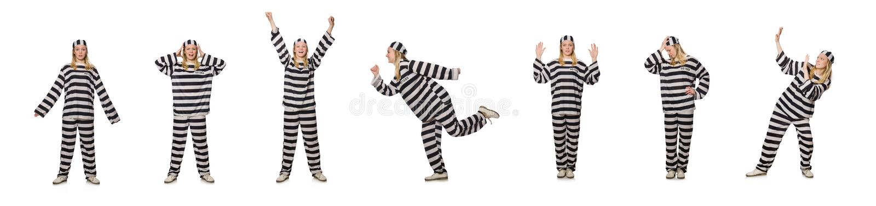 Φυλακισμένος που απομονώνεται στο άσπρο υπόβαθρο στοκ εικόνα
