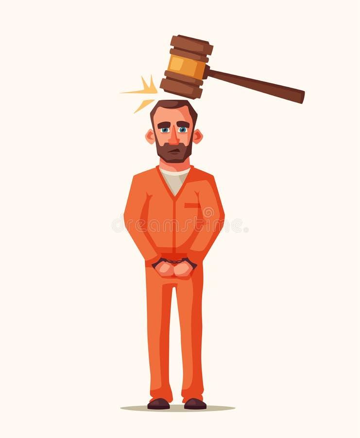 Φυλακισμένος στη φυλακή Σχέδιο χαρακτήρα cartoon commander gun his illustration soldier stopwatch ελεύθερη απεικόνιση δικαιώματος