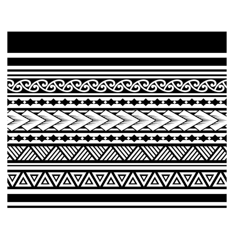 Φυλετικά maori σύνορα σχεδίων δερματοστιξιών, σαμοανικό αυτοώμον φυλετικό βραχιόλι σχεδίων τέχνης, πολυνησιακή αφηρημένη διακόσμη ελεύθερη απεικόνιση δικαιώματος