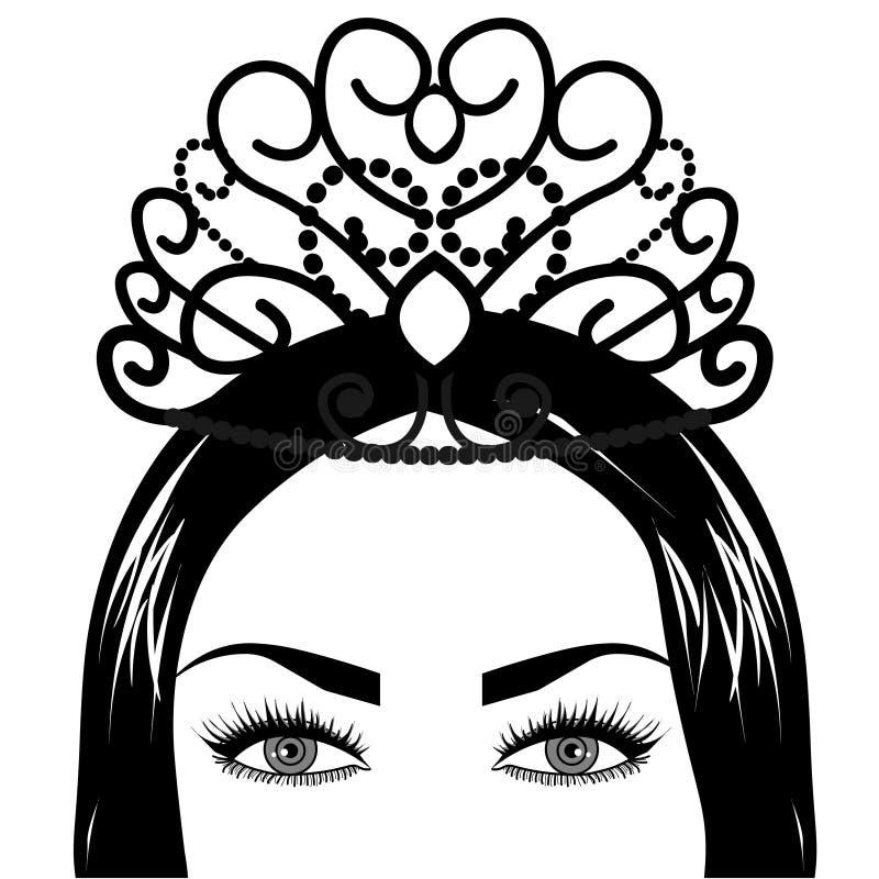 Φυλετική ντίβα Boho τήξης Ιστού Όμορφο ασιατικό θείο κορίτσι με την περίκομψη κορώνα, kokoshnik εμπνεσμένος Βοημίας θεά απεικόνιση αποθεμάτων