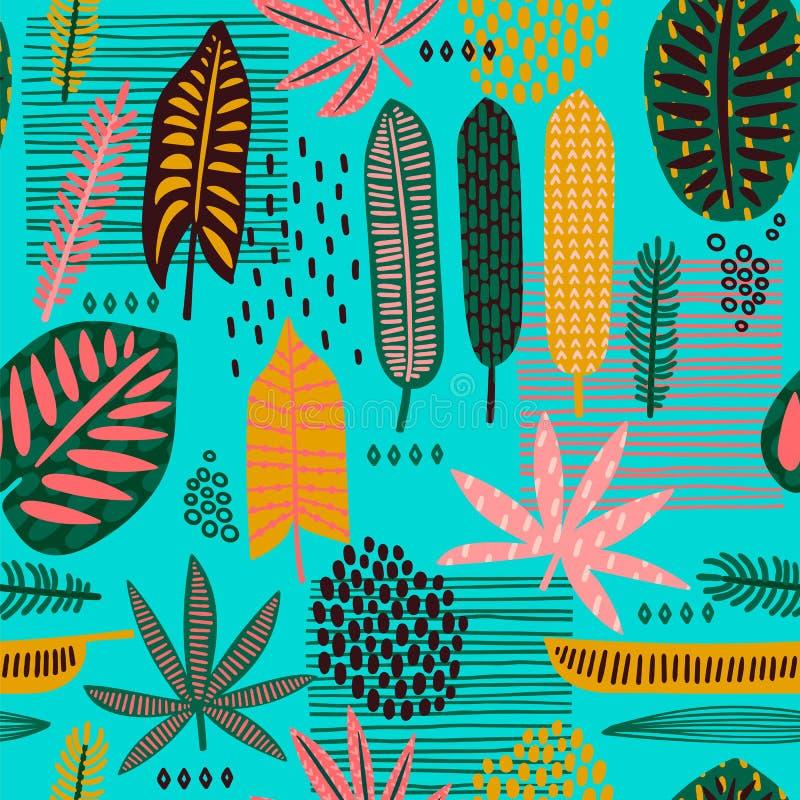 Φυλετικό άνευ ραφής σχέδιο με τα αφηρημένα φύλλα απεικόνιση αποθεμάτων
