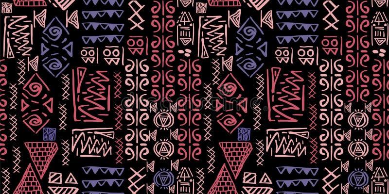 Φυλετικό διάνυσμα σχεδίων με το άνευ ραφής αιγυπτιακό αρχαίο ύφος συμβόλων Εκλεκτής ποιότητας υπόβαθρο απεικόνισης για την υφαντι ελεύθερη απεικόνιση δικαιώματος