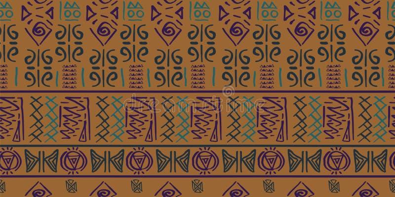 Φυλετικό διάνυσμα σχεδίων με το άνευ ραφής αιγυπτιακό αρχαίο ύφος συμβόλων Εκλεκτής ποιότητας υπόβαθρο απεικόνισης για την υφαντι διανυσματική απεικόνιση