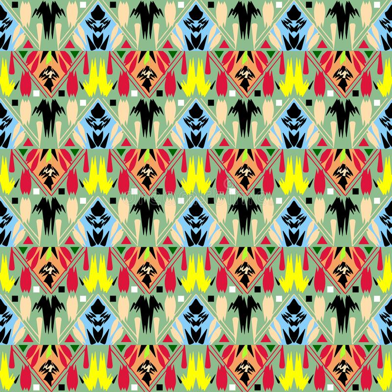 Φυλετικό διακοσμητικό διανυσματικό άνευ ραφής σχέδιο Λαϊκό αφηρημένο colorfu απεικόνιση αποθεμάτων