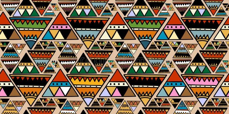 Φυλετικό μοτίβο τριγώνων με τα αφηρημένα άνευ ραφής ζωηρόχρωμα καθιερώνοντα τη μόδα χρώματα σχεδίων για διανυσματική απεικόνιση τ απεικόνιση αποθεμάτων
