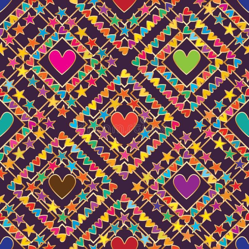 Φυλετικό πορφυρό άνευ ραφής σχέδιο πλαισίων μορφής διαμαντιών αστεριών αγάπης ελεύθερη απεικόνιση δικαιώματος