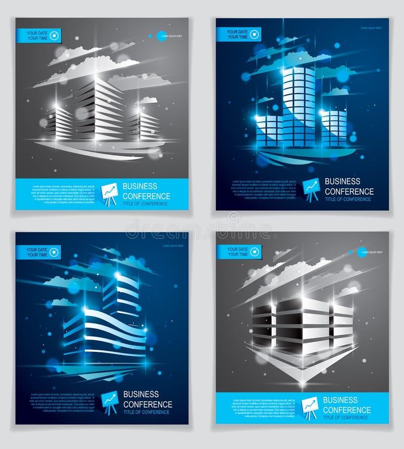 Φυλλάδια κτιρίων γραφείων καθορισμένα, σύγχρονο διανυσματικό ιπτάμενο αρχιτεκτονικής διανυσματική απεικόνιση
