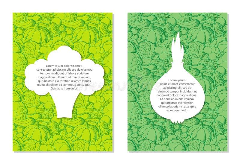 Φυλλάδια προτύπων σχεδίου με τις εικόνες του μπρόκολου και του κρεμμυδιού ελεύθερη απεικόνιση δικαιώματος