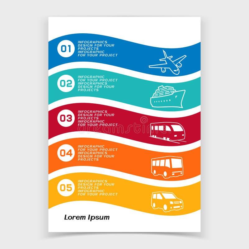 Φυλλάδιο ή σχέδιο εμβλημάτων Ιστού με τα εικονίδια μεταφορών ταξιδιού απεικόνιση αποθεμάτων