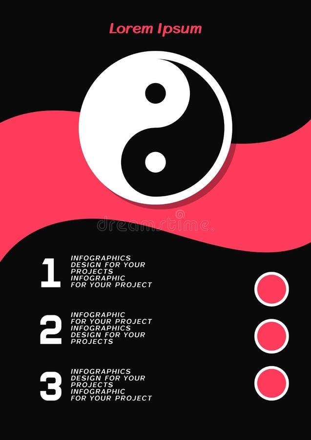 Φυλλάδιο ή σχέδιο εμβλημάτων Ιστού με το σύμβολο Yin Yang ελεύθερη απεικόνιση δικαιώματος