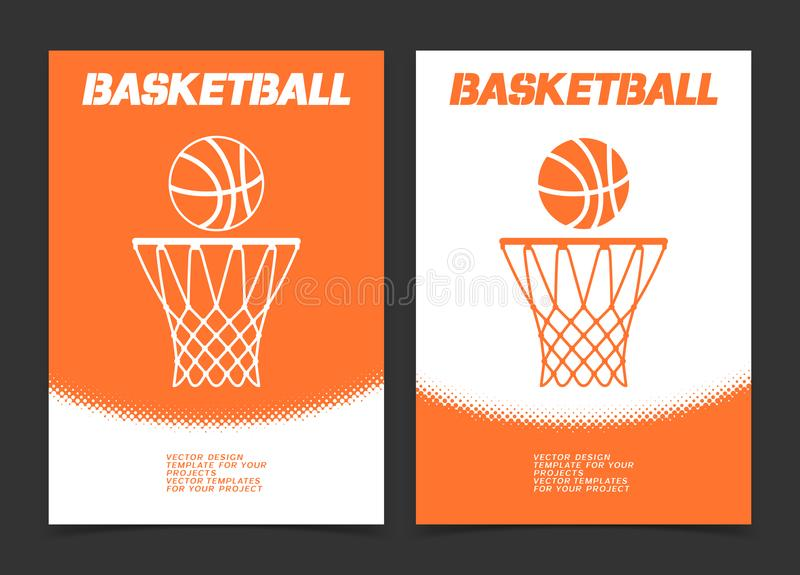 Φυλλάδιο καλαθοσφαίρισης ή σχέδιο εμβλημάτων Ιστού με το εικονίδιο σφαιρών και στεφανών ελεύθερη απεικόνιση δικαιώματος