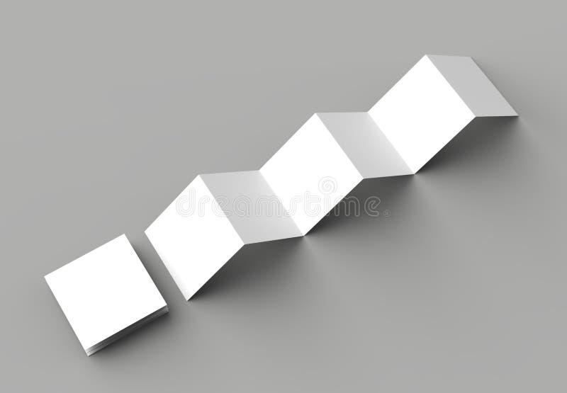 φυλλάδιο 12 σελίδων, 6 πτυχές ακκορντέον επιτροπής - τετραγωνικό φυλλάδιο πτυχών Ζ διανυσματική απεικόνιση