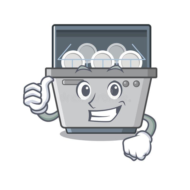 Φυλλομετρεί επάνω τη μηχανή πλυντηρίων πιάτων που απομονώνεται στα κινούμενα σχέδια ελεύθερη απεικόνιση δικαιώματος
