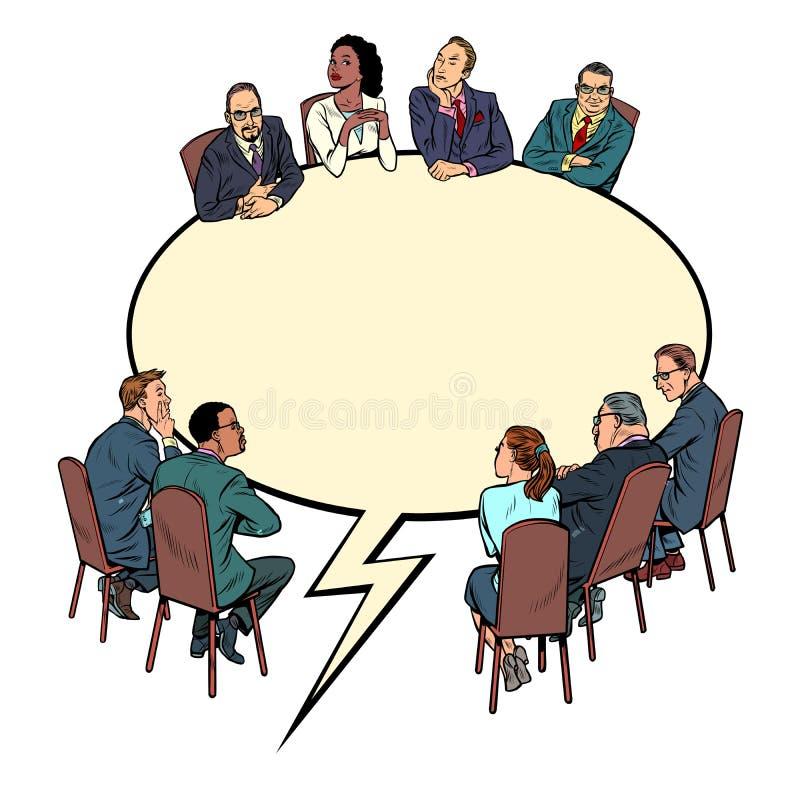 Φυσαλίδα κόμικ, συνάντηση με επιχειρηματίες Έννοια επικοινωνίας διαλόγου απεικόνιση αποθεμάτων