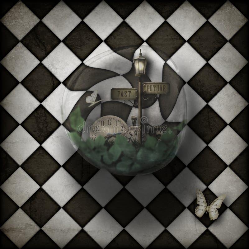 Φυσαλίδα χρονικών στρεβλώσεων Steampunk στο διαιρεσμένο σε τετράγωνα υπόβαθρο ελεύθερη απεικόνιση δικαιώματος