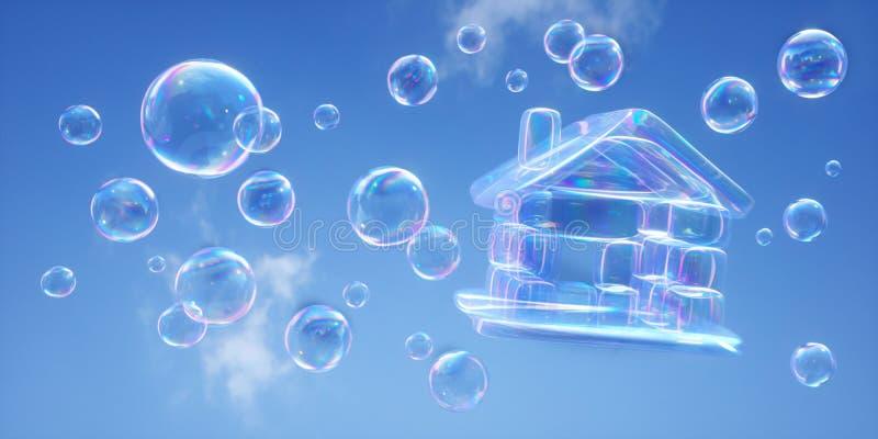 Φυσαλίδες σαπουνιών ενάντια σε έναν μπλε ουρανό - τρισδιάστατη απεικόνιση ελεύθερη απεικόνιση δικαιώματος