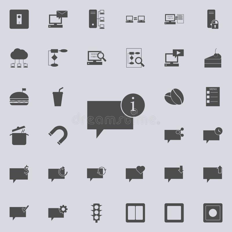 φυσαλίδες της επικοινωνίας με το σημάδι του εικονιδίου πληροφοριών Λεπτομερές σύνολο minimalistic εικονιδίων Γραφικό σχέδιο s εξα ελεύθερη απεικόνιση δικαιώματος