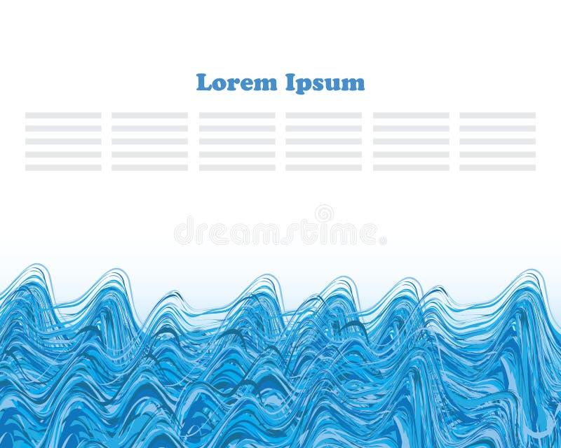 φυσικά κύματα σύστασης θάλασσας σχεδίου έργου τέχνης διανυσματική απεικόνιση