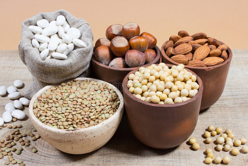 Φυσικά προϊόντα που περιέχουν τις πρωτεΐνες εγκαταστάσεων στοκ εικόνες