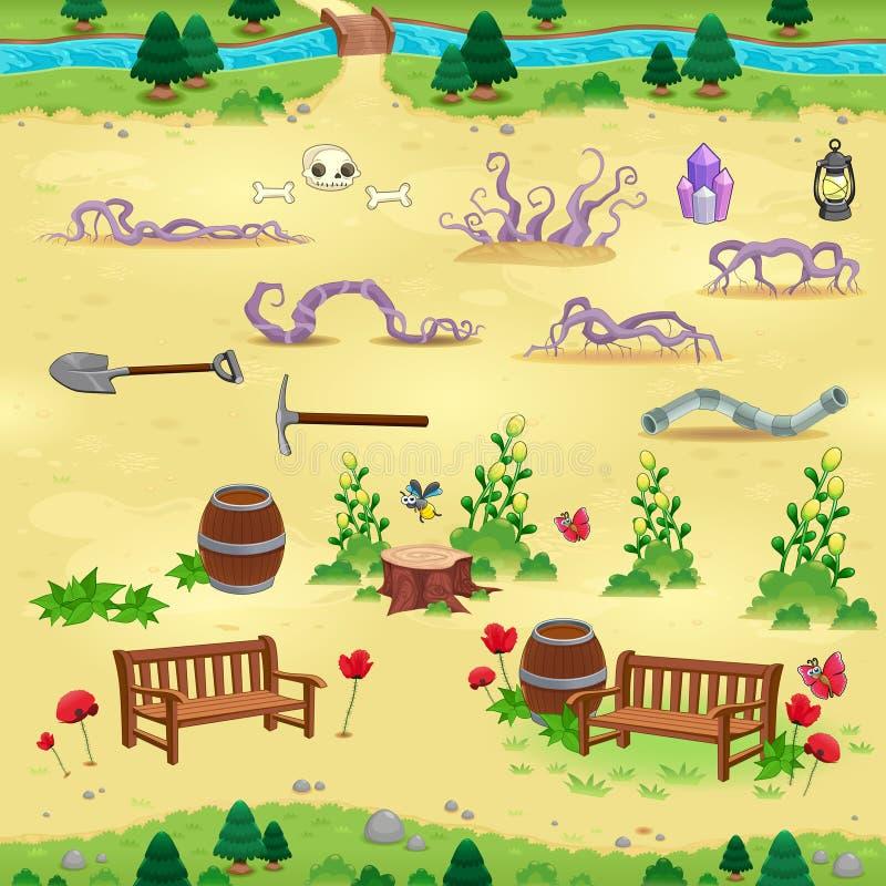 Φυσικά στοιχεία για τα παιχνίδια και app απεικόνιση αποθεμάτων