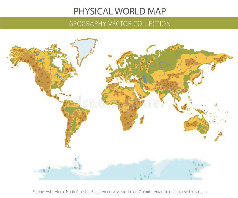 Φυσικά στοιχεία παγκόσμιων χαρτών Χτίστε τη γραφική παράσταση πληροφοριών γεωγραφίας σας ελεύθερη απεικόνιση δικαιώματος